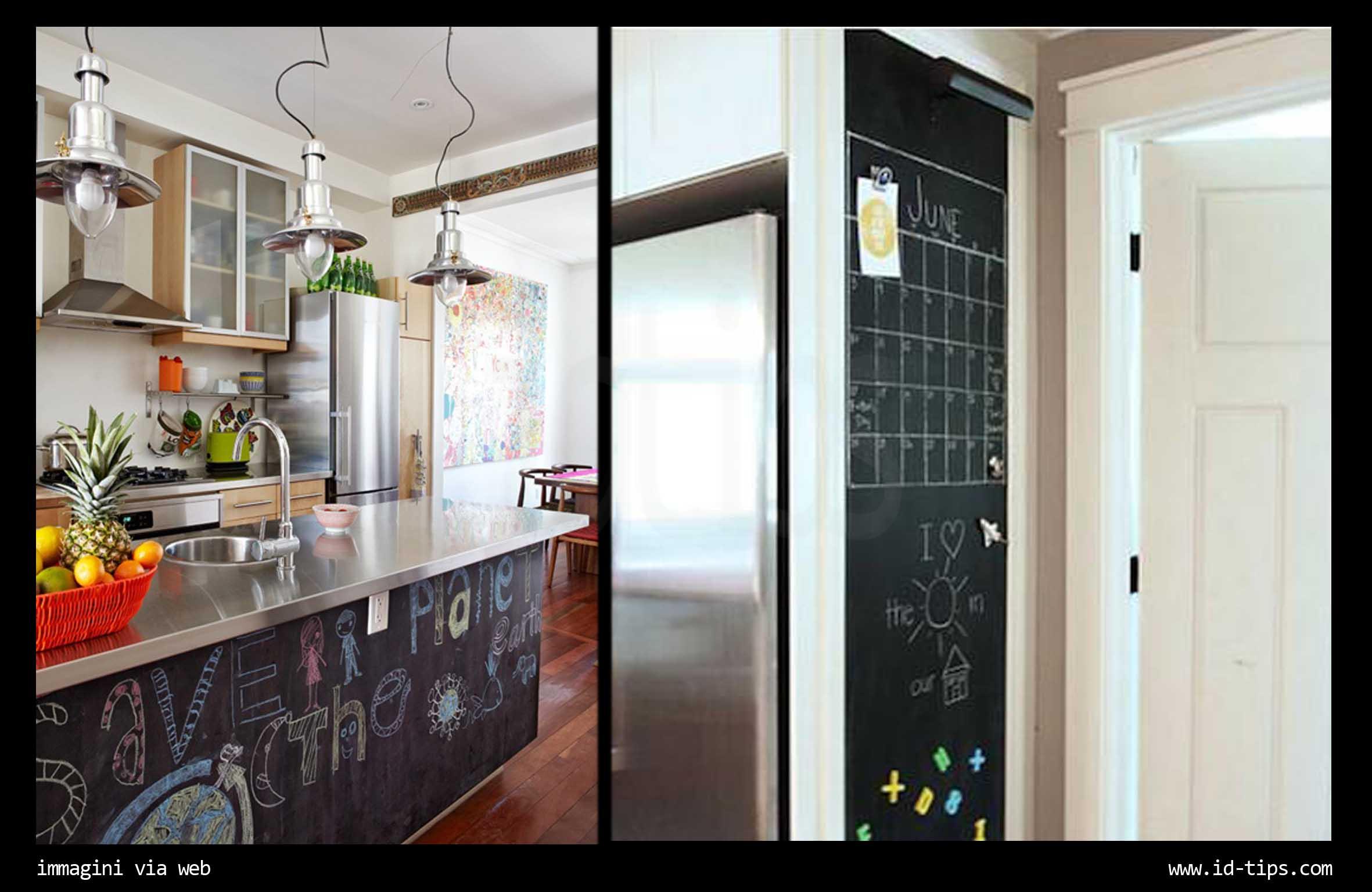 Una parete lavagna in casa - Lavagna magnetica da cucina ...